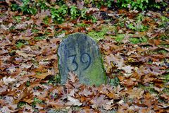 Ορόσημο με τον αριθμό 39 σε έναν τομέα το φθινόπωρο στοκ εικόνες