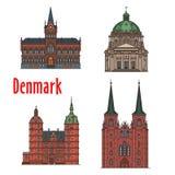 Ορόσημο ταξιδιού του βασίλειου του συνόλου εικονιδίων της Δανίας ελεύθερη απεικόνιση δικαιώματος