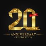 20ος εορτασμός ετών επετείου logotype Χρυσός αριθμός κορδελλών λογότυπων και κόκκινη κορδέλλα στο μαύρο υπόβαθρο διανυσματική απεικόνιση