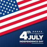 4ος Ιουλίου, ενωμένος δηλωμένος της χαιρετισμόςης ημέρας της ανεξαρτησίας Τέταρτο του Ιουλίου στο μπλε σχέδιο υποβάθρου Χρησιμοπο απεικόνιση αποθεμάτων