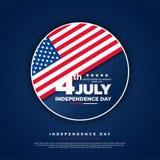 4ος Ιουλίου, ενωμένος δηλωμένος της χαιρετισμόςης ημέρας της ανεξαρτησίας Τέταρτο του Ιουλίου στο μπλε σχέδιο υποβάθρου Χρησιμοπο ελεύθερη απεικόνιση δικαιώματος