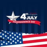 4ος Ιουλίου, ενωμένος δηλωμένος της χαιρετισμόςης ημέρας της ανεξαρτησίας Τέταρτο του Ιουλίου στο μπλε σχέδιο υποβάθρου Χρησιμοπο διανυσματική απεικόνιση