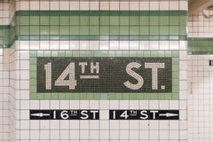 14ος σταθμός μετρό οδών - πόλη της Νέας Υόρκης Στοκ εικόνες με δικαίωμα ελεύθερης χρήσης