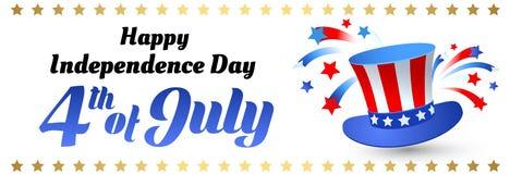 4ος της ημέρας της ανεξαρτησίας Ιουλίου των Ηνωμένων Πολιτειών της Αμερικής Αφίσα, έμβλημα Στοκ Φωτογραφίες