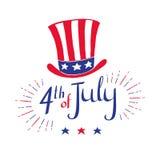 4ος του Ιουλίου - κάρτα εορτασμού ημέρας της ανεξαρτησίας Διανυσματική συρμένη χέρι απεικόνιση με το καπέλο στο χρώμα σημαιών ` s Στοκ Φωτογραφία