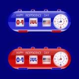 4ος του Ιουλίου με τα ρολόγια επιτραπέζιων χτυπημάτων και το μετρητή αριθμού Στοκ φωτογραφία με δικαίωμα ελεύθερης χρήσης