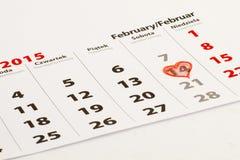 14ος του Φεβρουαρίου με την καρδιά Στοκ Φωτογραφίες