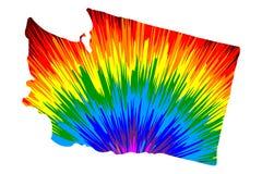 Ουάσιγκτον - ο χάρτης είναι σχεδιασμένο αφηρημένο ζωηρόχρωμο σχέδιο ουράνιων τόξων διανυσματική απεικόνιση