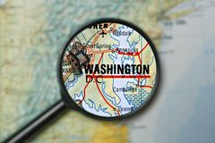 Ουάσιγκτον που ενισχύεται σε έναν χάρτη Στοκ εικόνες με δικαίωμα ελεύθερης χρήσης
