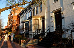 Ουάσιγκτον, συνεχές ρεύμα: 19α ανατολικά σπίτια του Κάπιτολ Χιλλ αιώνα στοκ εικόνα