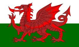 Ουαλλέζικη κόκκινη σημαία δράκων απεικόνιση αποθεμάτων