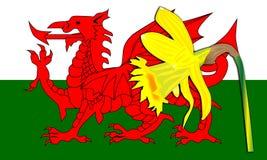 Ουαλλέζικη σημαία δράκων Daffodil απεικόνιση αποθεμάτων