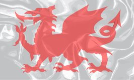 Ουαλλέζικη σημαία μεταξιού Grunge δράκων απεικόνιση αποθεμάτων