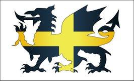 Ουαλλέζικος δράκος Άγιος Δαβίδ Flag Στοκ Εικόνες
