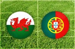 Ουαλία εναντίον της Πορτογαλίας Στοκ Εικόνες