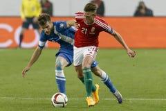 Ουγγαρία εναντίον των Κάτω Χωρών Αγώνας ποδοσφαίρου χαρακτηριστή του 2016 ευρώ UEFA της Φινλανδίας στοκ εικόνες