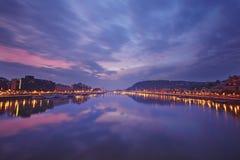 Ουγγαρία Πανόραμα βραδιού της Βουδαπέστης στο ηλιοβασίλεμα Στοκ Εικόνα