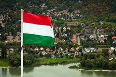 Ουγγρική σημαία στο Visegrad Στοκ φωτογραφία με δικαίωμα ελεύθερης χρήσης