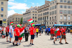 Ουγγρικοί οπαδοί ποδοσφαίρου σε ευρώ 2016, Μασσαλία, Γαλλία Στοκ φωτογραφία με δικαίωμα ελεύθερης χρήσης