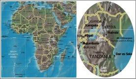 Ουγκάντα Κένυα Τανζανία Μπουρούντι και χάρτης της Αφρικής ελεύθερη απεικόνιση δικαιώματος
