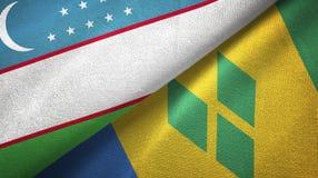 Ουζμπεκιστάν και Άγιος Βικέντιος και Γρεναδίνες δύο υφαντικό ύφασμα σημαιών απεικόνιση αποθεμάτων