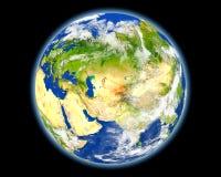 Ουζμπεκιστάν στο κόκκινο από το διάστημα Στοκ εικόνες με δικαίωμα ελεύθερης χρήσης