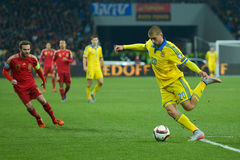 Ουκρανία εναντίον της Ισπανίας Πλέι-οφ του 2016 ΕΥΡΏ UEFA Στοκ Εικόνες