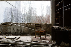 Ουκρανία Ζώνη αποκλεισμού του Τσέρνομπιλ - 2016 03 19 Κτήρια στην εγκαταλειμμένη πόλη Pripyat Στοκ Φωτογραφία