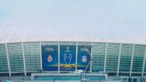Ουκρανία, Κίεβο, πρόσοψη του ολυμπιακού σταδίου, προετοιμασία του σταδίου για τελικό του Champions League 2018 απόθεμα βίντεο
