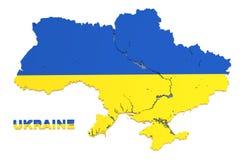 Ουκρανία, χάρτης με τη σημαία, που απομονώνεται, μονοπάτι ψαλιδίσματος Στοκ Εικόνες