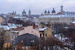 Ουκρανία, Lviv - 16 Δεκεμβρίου, 2016: Βράδυ Lviv Άποψη του CE Στοκ Εικόνες