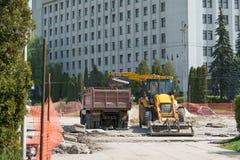Ουκρανία Ternopil Υπαίθρια εξωτερική εργασία επισκευής 05 04 2017 Στοκ Φωτογραφία