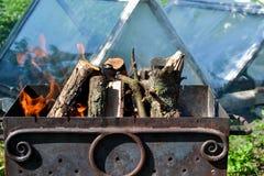 Ουκρανικά BBQ και πικ-νίκ, φωτιά Στοκ φωτογραφίες με δικαίωμα ελεύθερης χρήσης