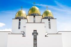 Ουκρανική εκκλησία ενάντια στο μπλε ουρανό Syhiv, Lviv Στοκ Φωτογραφία
