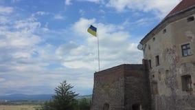 Ουκρανική κυματίζοντας σημαία απόθεμα βίντεο
