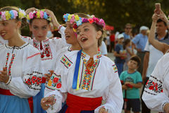 Ουκρανική ομάδα χορευτών στα παραδοσιακά κοστούμια Στοκ φωτογραφίες με δικαίωμα ελεύθερης χρήσης