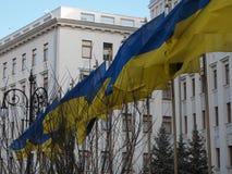 Ουκρανική σημαία σε ένα υπόβαθρο του προεδρικού Στοκ φωτογραφία με δικαίωμα ελεύθερης χρήσης