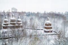 Ουκρανική χιονισμένη εκκλησία στο πάρκο στοκ φωτογραφίες με δικαίωμα ελεύθερης χρήσης