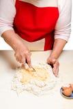 Ουκρανικός varenyky μαγειρέματος με τα κεράσια Serie Στοκ Φωτογραφία