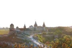 Ουκρανικό μεσαιωνικό φρούριο όψη της πόλης Ουκρανίας podilskyi κάστρων kamianets παλαιά Στοκ Φωτογραφία