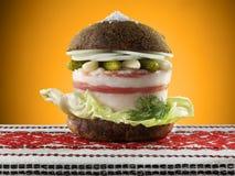 Ουκρανικό burger με το λαρδί Στοκ φωτογραφία με δικαίωμα ελεύθερης χρήσης