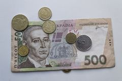 Ουκρανικό Hryvnia Ουκρανικά χρήματα Τραπεζογραμμάτιο με τα νομίσματα closeup Στοκ Φωτογραφίες