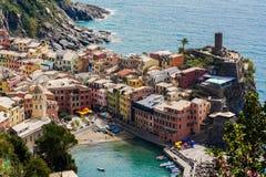 ΟΥΝΕΣΚΟ παγκόσμιων κληρονομιών της ΟΥΝΕΣΚΟ Cinque Terre Vernazza Στοκ Φωτογραφίες