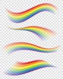 Ουράνια τόξα στις διαφορετικές μορφές στο διαφανές υπόβαθρο Στοκ φωτογραφίες με δικαίωμα ελεύθερης χρήσης