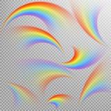 Ουράνια τόξα στο διαφορετικό ρεαλιστικό σύνολο μορφής 10 eps Στοκ Εικόνες