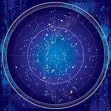 Ουράνιος χάρτης του νυχτερινού ουρανού (σχεδιάγραμμα) διανυσματική απεικόνιση