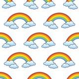 Ουράνιο τόξο & άνευ ραφής σχέδιο σύννεφων διανυσματική απεικόνιση