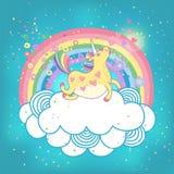 Ουράνιο τόξο μονοκέρων στα σύννεφα διανυσματική απεικόνιση