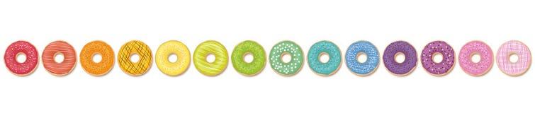 Ουράνιο τόξο σχεδίων Donuts που χρωματίζεται σε μια γραμμή ελεύθερη απεικόνιση δικαιώματος