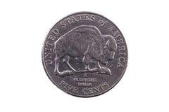 Ουρά νομισμάτων Ηνωμένου νικελίου με το Buffalo πέντε σεντ στοκ φωτογραφίες